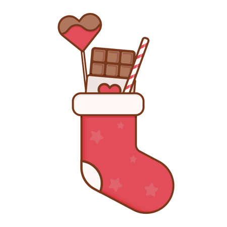 Bar of chocolate, a sweet heart on a stick and a caramel cane in a sock. Christmas or New Years gift. Vector illustration isolated on white background.