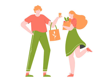 Young couple is shopping in a store without plastic. Eco-friendly packaging and bags. Zero waste life in eco style. Vector flat illustration.