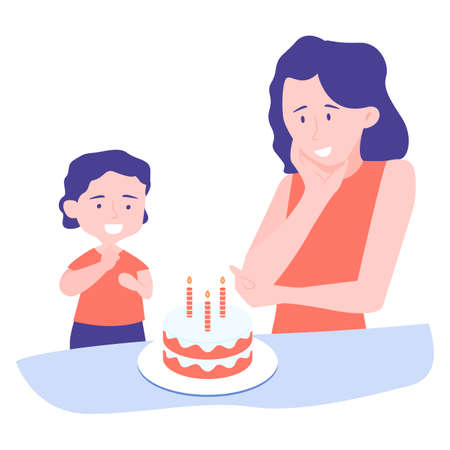 Mother and son celebrate birthday. The boy is going to blow out the candles and make a wish, the woman is happy with the holiday. Illustration on white background.