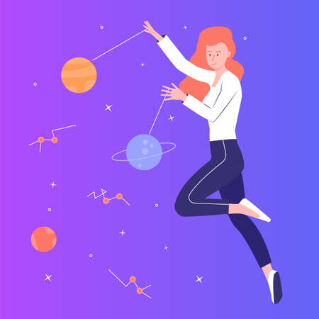 Young pretty girl flying in space Ilustração
