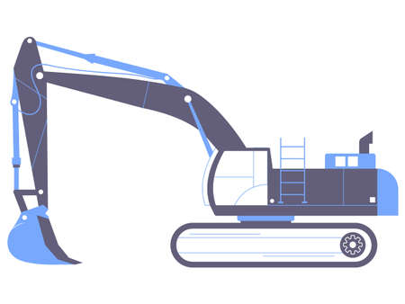 Excavator. Large industrial machine. Illustration isolated on a white background.