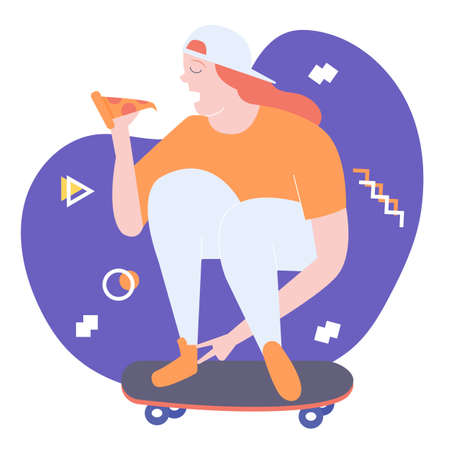 Odd character girl sits on a skateboard and eats pizza. Bright vector trend illustration.