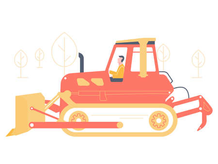 Bulldozer driver. Large industrial machine. Crawler tractor for digging, laying and moving of soils. Illustration isolated on a background of trees.