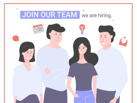 We are hiring. Join our team. Human resource. Illustration for recruiters, agencies, social networks and websites.