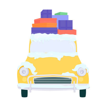 Cartoon car, covered with snow. On the roof are gifts for the new year. Yellow, bright, festive.