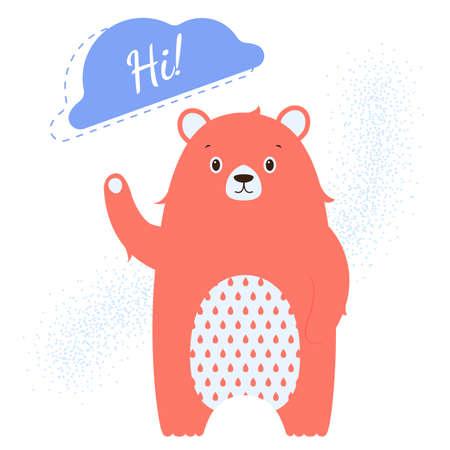 Character red bear waving his paw. Ilustração
