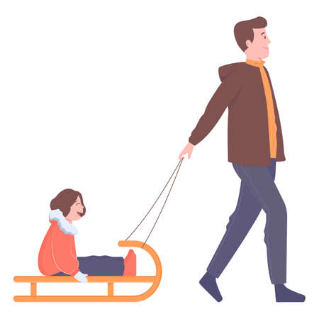 Father and daughter on a winter walk. Man sledding a child. Family, joy, holidays, warm weather, outdoors. Illistration on white background.
