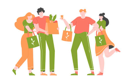 Group of young people, millenials are shopping in a store without plastic. Eco-friendly packaging and bags. Zero waste life in eco style. Vector flat illustration.