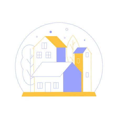 Minimalistic cityscape in a snow globe. Houses and trees. Colorful vector illustration.