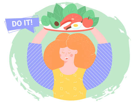 The girl holds a plate with healthy food. Diet, vegetables, fruits, proteins, carbohydrates. Bright vector trend character on green background