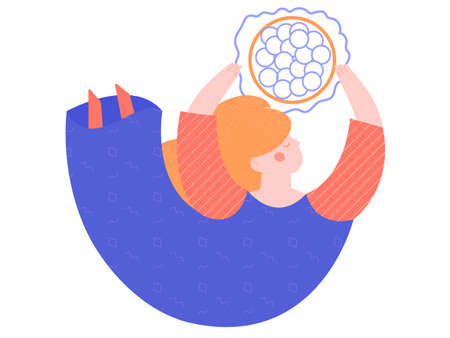 A woman holds an egg cell in her hands, floating in the air. Concept vector illustration on the topic of gynecology, womens health, reproduction of offspring. Original representation of fertility. Stockfoto - 140154559