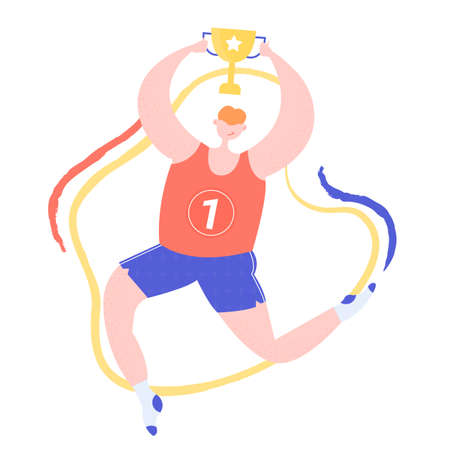 Big man character holding a gold cup. Winner and athlete. Sport in as a lifestyle. Colorful vector illustration.