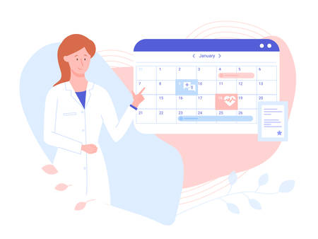 Friendly female doctor near the work schedule. Hospital calendar, make an appointment online. Vector illustration on pastel gentle background. Иллюстрация