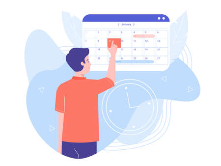 A man makes an appointment with an online doctor. On the calendar selects the desired date. Colorful trend vector illustration.