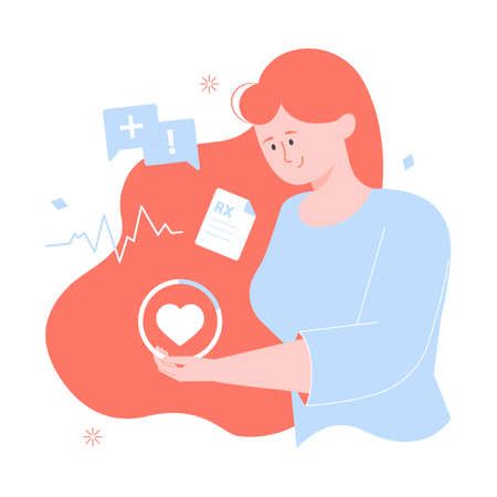 Girl character holds heart. Women Health. Icons for consultation, prescription doctor, heartbeat.