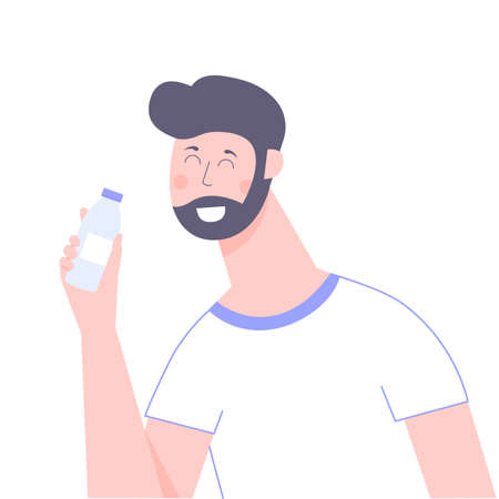 An attractive male character holding a bottle of water, milk or soda. Friendly smiling guy. Vector illustration isolated on white background. Vectores