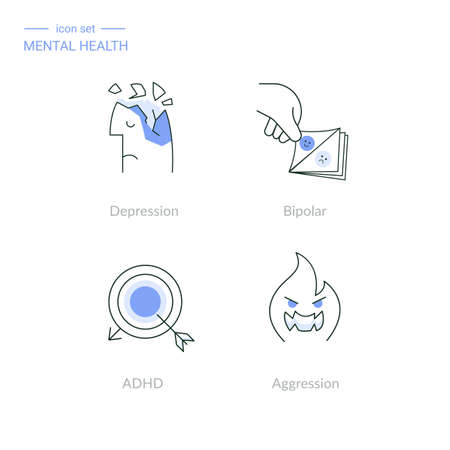 Set of linear mental health icons depression, bipolar disorder and mood swings, attention deficit hyperactivity syndrome, aggression.