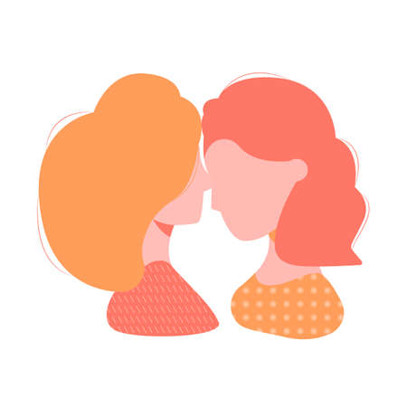 Colorful silhouette of a loving couple of girls. Illustration