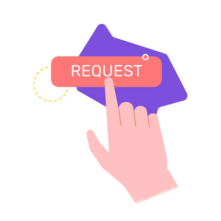 The user press a button with a finger. Create a request, frequently asked questions, user interface. Vector illustration with hand for landing pages.
