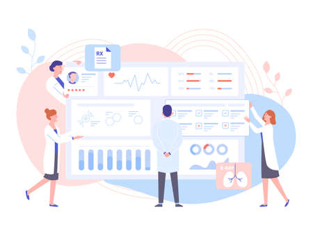 The physician doctor and the nurses analyze the patients medical data. Big dashboard with information. Diagnosis of diseases, the study of tests and treatment. Pastel vector illustration.