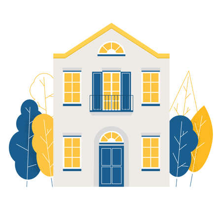 Cute colorful house surrounded by trees. Flat vector illustration.