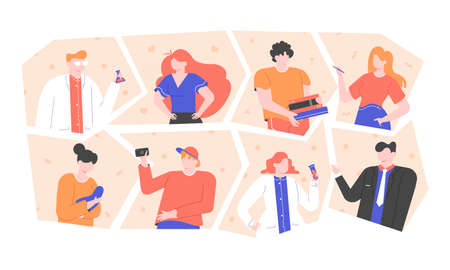 A group of people of different professions. Illustration