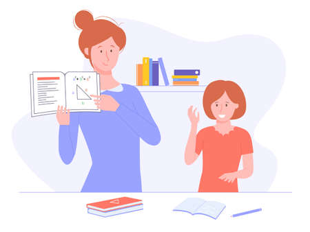 Home schooling, effective learning, inquisitive child. Mom or tutor is holding a math textbook. The girl raises her hand to answer questions. Vector illustration. Illustration
