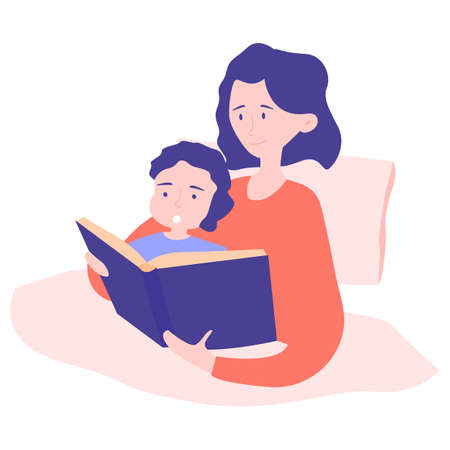 Mom and son get ready for bed at night. In the bed read a book. A fairy tale, a magical story that had interesting dreams. Happy and smiling together.