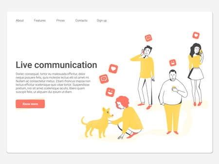 Stylish modern vector illustration. People look in the phones, buried in gadgets, and only one girl communicates with the dog and gets the whole spectrum of emotions. Suitable for landing pages.