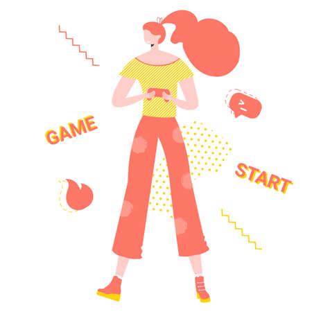 Girl gamer with joystick in her hands. Playing online on a computer or console. Modern hobby. Vector illustration. Ilustração