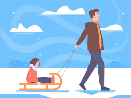 Father and daughter on a winter walk. Man sledding a child. Family, joy, holidays, warm weather, outdoors. Bright illustration.