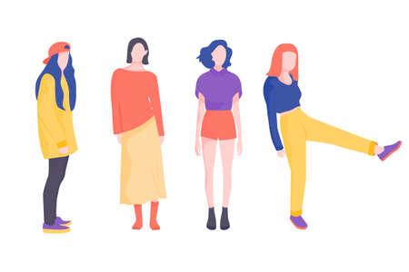 A set of stylish young hipster girls Ilustración de vector