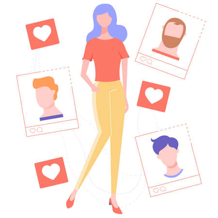 Pretty girl and the choice of a life partner. Illustration for dating sites and articles about the relationship between a man and a woman. Vector illustration. Vektorgrafik
