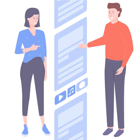 Couple scroll the news line on the Internet. Social networks, media, marketing. Vecteurs