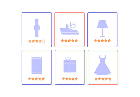 Cards with categories of goods in the online store. Shopping mobile application. Set of icons. Vector flat.