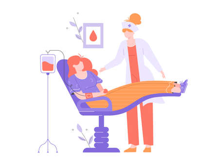 Woman volunteer blood donor. Blood transfusion, medical tests, health care, world blood donor day. The patient lies in a chair in the hospital, around a nurse and a drip. Vector flat illustration.