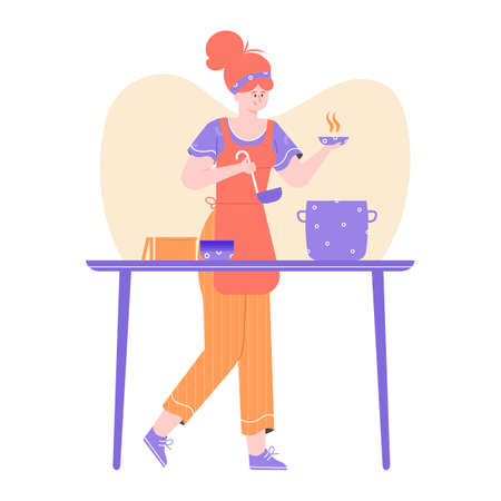 Female chef character. Cooking at home, in a restaurant or at a culinary course. A girl with a cook is standing near the pan. Vector flat illustration. Ilustrace