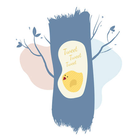 Cute bird chirps in the hollow of a tree. Gentle illustration in pastel colors.
