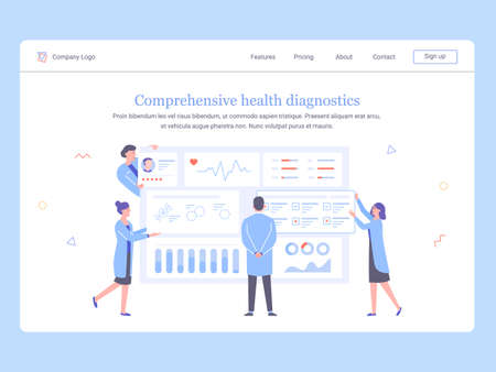 Medical team of doctors analyzes patient data. Dashboard with information. The physician examines the tests, nurses, assistants and doctors provide data. Concept landing page template.