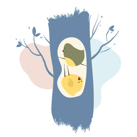 Two cute birds in the hollow of a tree. Gentle illustration in pastel colors.