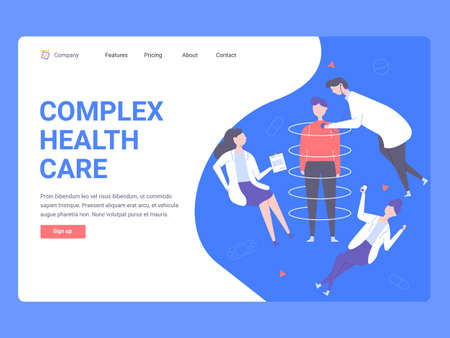 Concept landing page template for web site. Medical advice online, diagnosis of diseases, effective treatment. Patient, doctor and nurse.