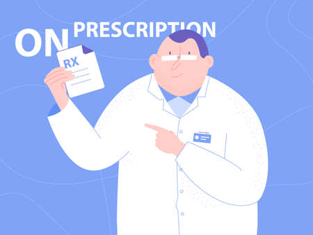 Cute character doctor man. In the hands of holding a prescription for medicine. Medical illustration. Vector on bright blue background. Ilustração