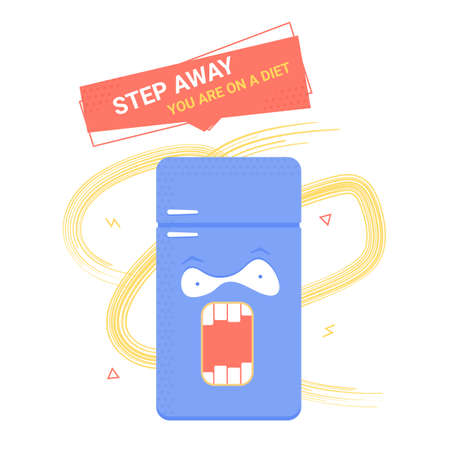 Angry fridge. Restriction in food, proper nutrition, weight loss. Step away, youre on a diet. Vector illustration.