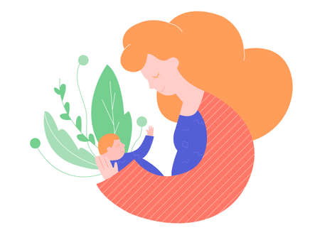Cute mother holds the child in her arms, protects him from danger. Around the green plants. Vector illustration on white background.