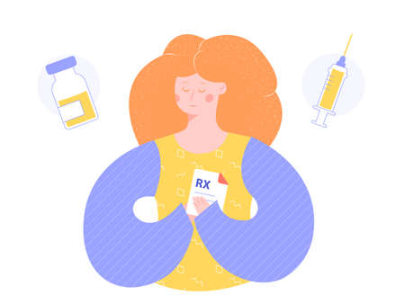 A redhead woman is holding a prescription for medicine. Next icon boxes with pills and syringe. Health care, disease treatment, preventive measures. Vector illustration.