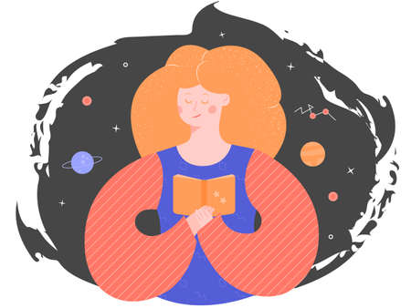 Pretty girl immersed in reading. In the hands of holding a book. Sent to the uncharted worlds of space and astronomy. Vector illustration.