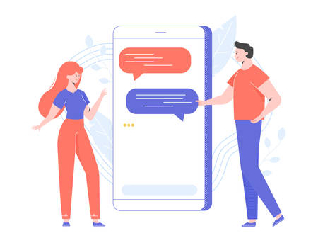 Couple of young people text messaging through an online messenger. The guy and the girl communicate on the Internet. Small characters next to a large smartphone. Vector illustration.