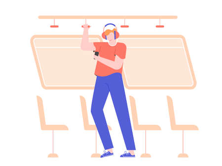 A young man in headphones with a mobile phone is standing in a bus. Holding on to the handrail, going to work, traveling. Listens to music, podcast, audio lesson or guide. Vector flat illustration. 일러스트
