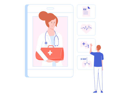 Pretty woman physician with doctors briefcase on the screen of a smartphone. Male patient selects the service. Online health consultation, medical mobile app. Vector illustration.