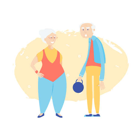 Old lady and old gentleman are ready to go in for sports. Preservation of activity in old age.
